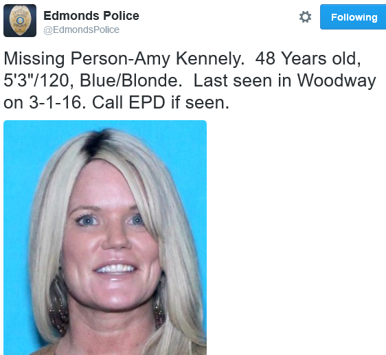 Edmonds Police on Twitter- -Missing Person-Amy Kennely. 48 Years old, 5'3--120, Blue-Blonde. Last seen in Woodway on 3-1-16. Call EPD if seen. https---t.co-YVRwP3bEIL- 2016-03-02 21-52-35