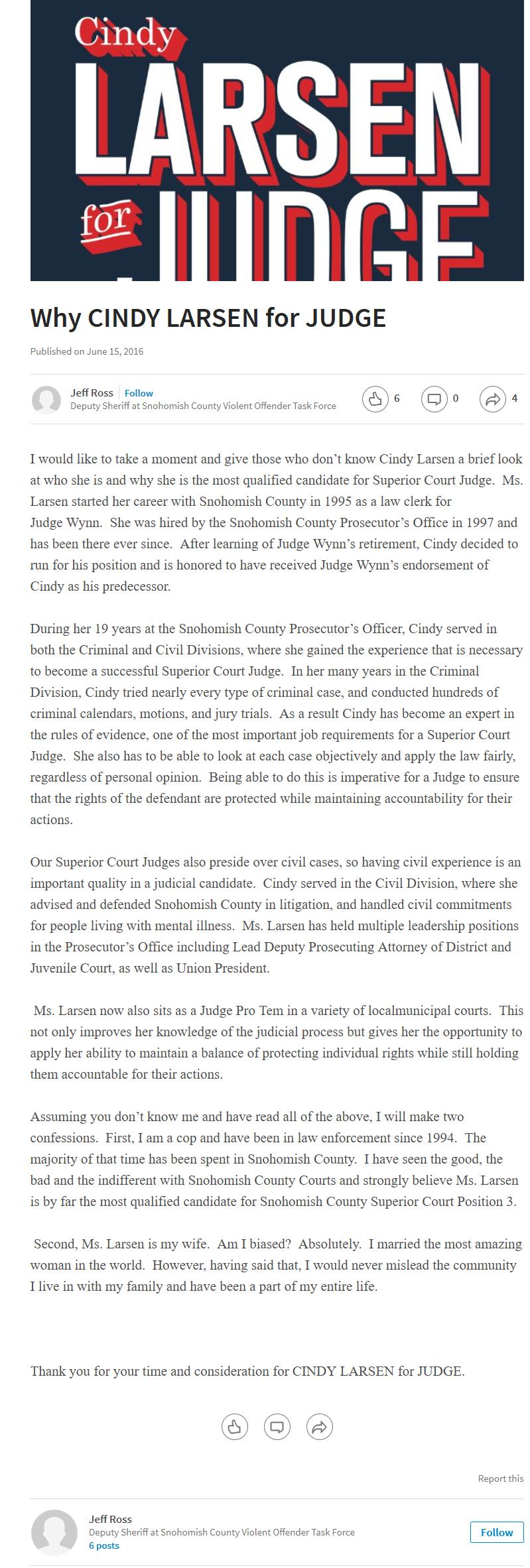 Why CINDY LARSEN for JUDGE - Jeff Ross - Pulse - LinkedIn 2016-09-04 01-33-04